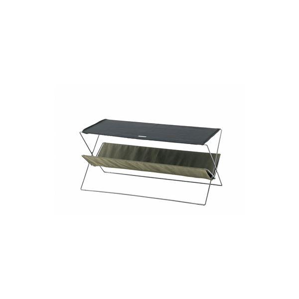 折りたたみテーブル/サイドテーブル 【グリーン】 幅90cm スチール コットン ポリエステル 〔アウトドア キャンプ 釣り〕
