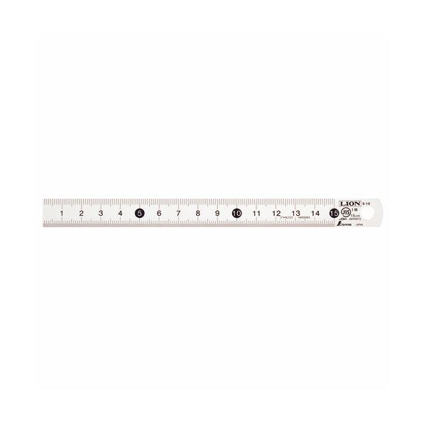 (まとめ) ライオン事務器 ステンレス直線定規15cm S-15 1セット(10本) 【×5セット】