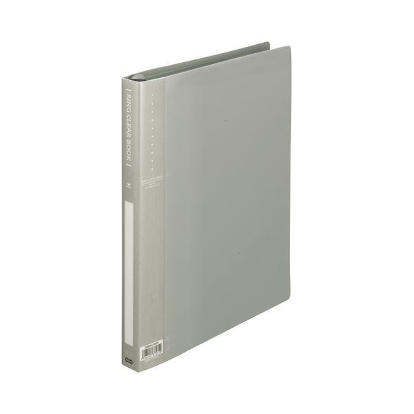 (まとめ) TANOSEE リングクリヤーブック(クリアブック) A4タテ 30穴 10ポケット付属 背幅25mm グレー 1セット(10冊) 【×5セット】