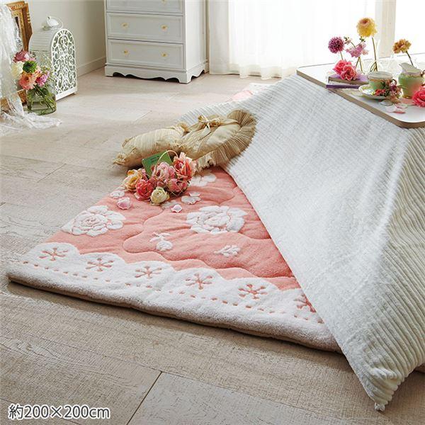 ローズ柄 ラグマット/絨毯 【約200cm×200cm】 正方形 ホットカーペット対応 『ふわふわシープ調』 〔リビング〕