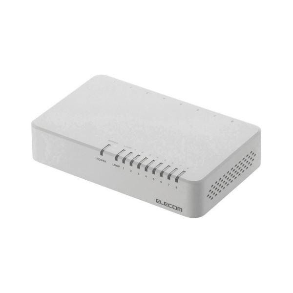 (まとめ) エレコム 100BASE-TX対応 スイッチングハブ 8ポート プラスチック筐体 ホワイト EHC-F08PA-W 1台 【×5セット】