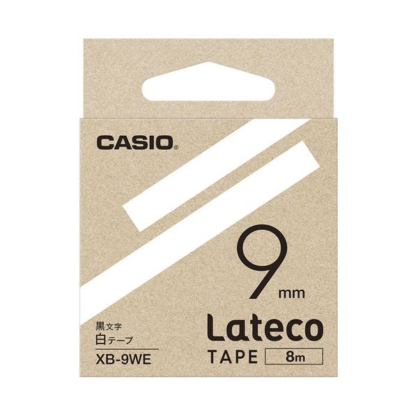 (まとめ)カシオ計算機 ラテコ専用テープXB-9WE 白に黒文字(×30セット)