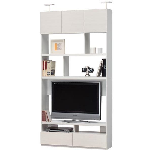 シンプルモダン 壁面テレビボード/テレビ台 【ホワイト】 幅120cm 日本製 棚板 扉付き 『リビュアル』 〔リビング〕【代引不可】
