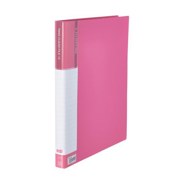 (まとめ)TANOSEEPPクリヤーファイル(差替式) A4タテ 30穴 15ポケット ピンク 1セット(10冊)【×3セット】