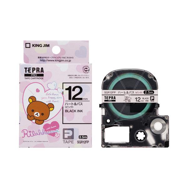 (まとめ) キングジム テプラ PROテープカートリッジ リラックマラベル 12mm ハート&バス(ピンク)/黒文字 SGR12FP 1個 【×10セット】