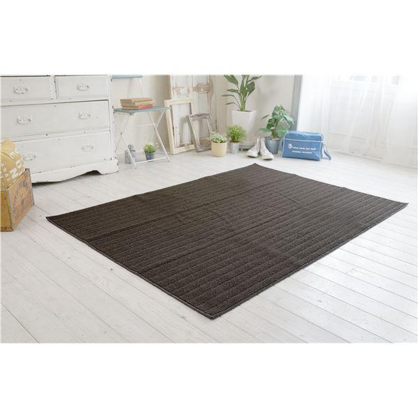 防ダニ ラグマット/絨毯 【185×185cm 正方形 ブラウン】 日本製 洗える 防滑 『スミノエ ナチュール』 〔リビング ダイニング〕【代引不可】