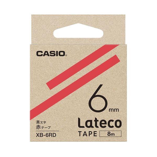 (まとめ)カシオ計算機 ラテコ専用テープXB-6RD 赤に黒文字(×30セット)