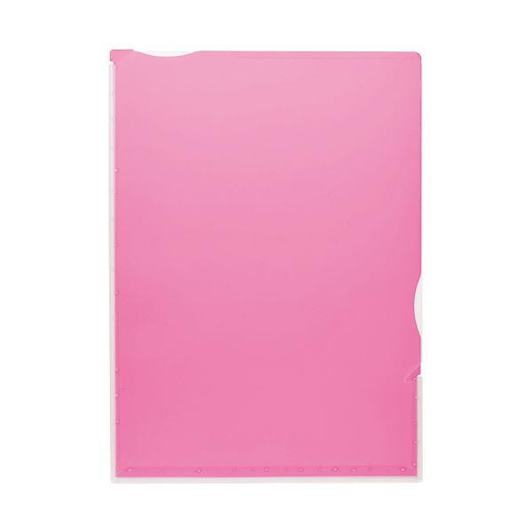 (まとめ)TANOSEE 超丈夫なマチ付クリアホルダー タフレル A4タテ ピンク 1パック(5枚)【×10セット】
