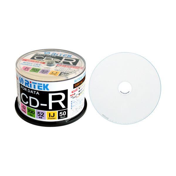 (まとめ) RITEK データ用CD-R 700MB1-52倍速 ホワイトワイドプリンタブル スピンドルケース CD-R700EXWP.50RT C1パック(50枚) 【×10セット】