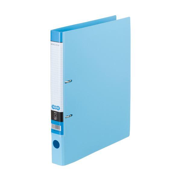 (まとめ) Dリングファイル A4-S 背幅37mm ライトブルー 10冊 【×10セット】