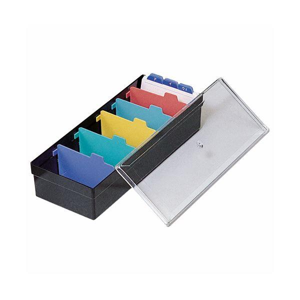 (まとめ) ライオン事務器 名刺整理箱W102×D260×H70mm 800枚収容 黒 No.100 1個 【×10セット】