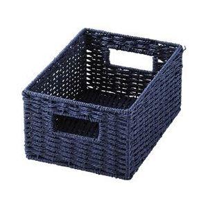 (まとめ) ペーパーバスケット/収納ボックス 【ネイビー クォーターサイズ】 軽量 カラーボックス収納 【×24個セット】
