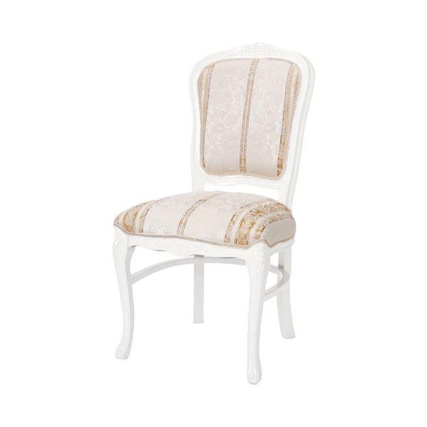 ダイニングチェア/食卓椅子 【ホワイト 幅50×奥行60×高さ97cm】 木製脚付き ポリエステル 〔リビング〕【代引不可】