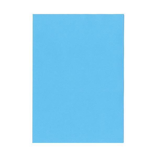 (まとめ) 北越コーポレーション 紀州の色上質A4T目 薄口 ブルー 1冊(500枚) 【×5セット】