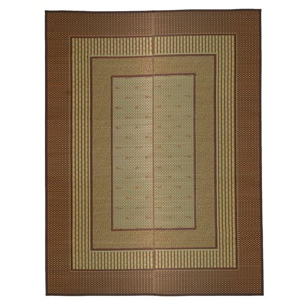 国産い草 ラグマット/絨毯 【約191×191cm ブラウン】 日本製 裏貼り仕様 防滑加工 縁:綿100% 『エルモード』 〔リビング〕【代引不可】
