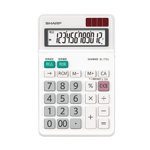 (まとめ) シャープ エルシーメイト電卓 12桁ミニナイスサイズ EL-772J-X 1台 【×10セット】