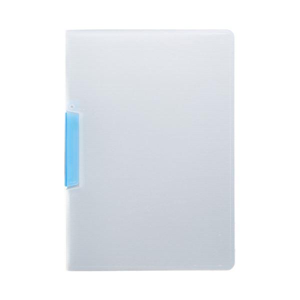 (まとめ) TANOSEE スライドクリップファイルA4タテ クリアブルー 1冊 【×100セット】