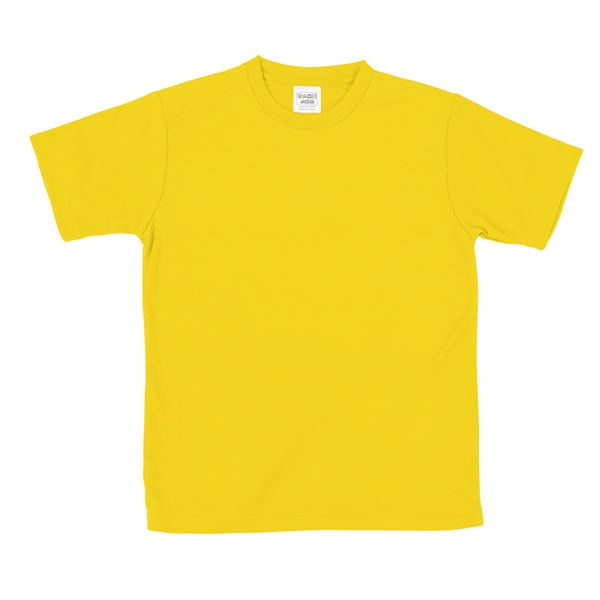 (まとめ)ATドライTシャツ 130cm イエロー 150g ポリ100% 【×10個セット】