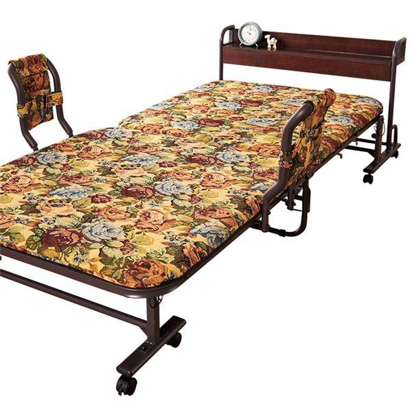 宮付き 折りたたみベッド 花柄 キャスター 手すり付き スチールフレーム 〔寝室 ベッドルーム〕