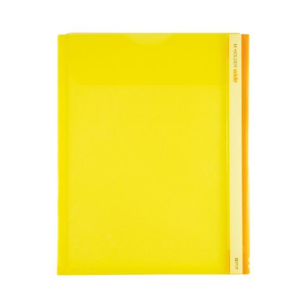 (まとめ) キングジム Mホルダー A4タテ 黄フタ付 とめまるタック1組付 733W 1セット(5枚) 【×10セット】