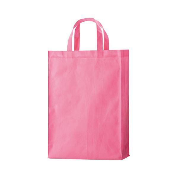 (まとめ) TANOSEE 不織布バッグ 中 ヨコ320×タテ450×マチ幅120mm ピンク 1パック(10枚) 【×10セット】
