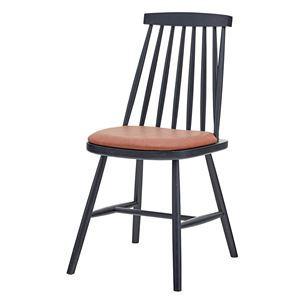 ダイニングチェア/食卓椅子 【2脚組 ブラック】 幅41×奥行51×高さ82cm 木製 ソフトレザー 〔リビング 店舗〕