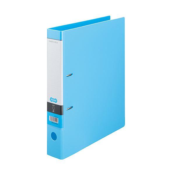 (まとめ) TANOSEE DリングファイルA4タテ 2穴 350枚収容 背幅53mm ライトブルー 1セット(10冊) 【×5セット】