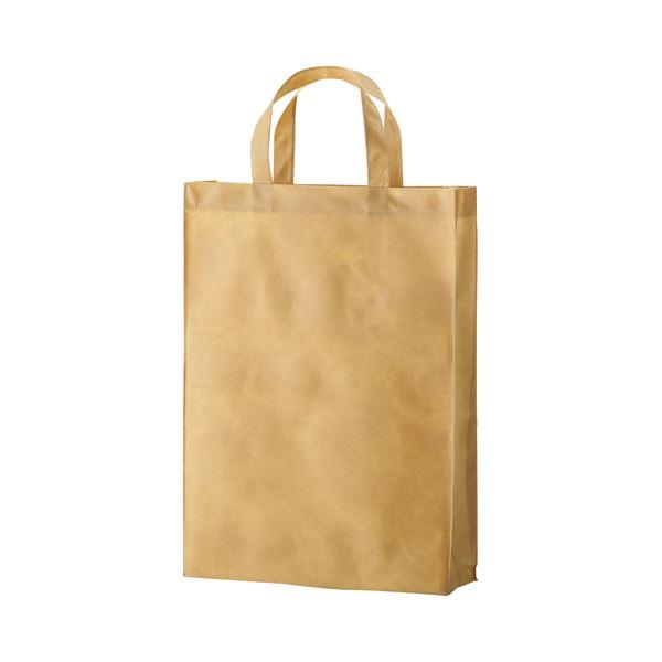 (まとめ) TANOSEE 不織布バッグ 中 ヨコ320×タテ450×マチ幅120mm ベージュ 1パック(10枚) 【×10セット】