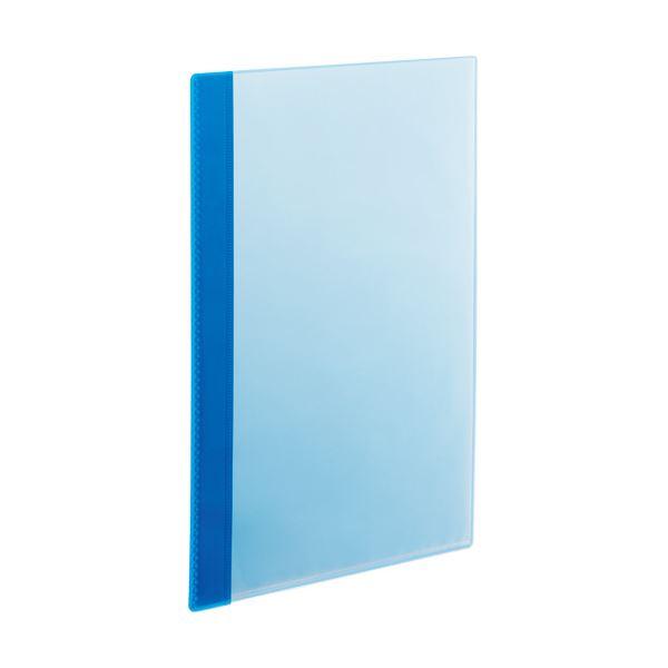(まとめ)TANOSEE薄型クリアブック(角まる) A4タテ 10ポケット ブルー 1セット(50冊:5冊×10パック)【×3セット】