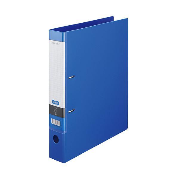 (まとめ) TANOSEE DリングファイルA4タテ 2穴 350枚収容 背幅53mm ブルー 1セット(10冊) 【×5セット】