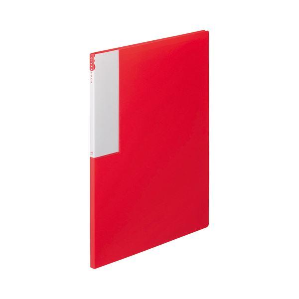 (まとめ) TANOSEE クリヤーブック(クリアブック) A4タテ 12ポケット 背幅10mm レッド 1セット(10冊) 【×10セット】