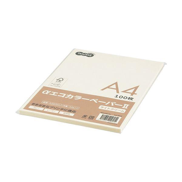 (まとめ) TANOSEE αエコカラーペーパーII A4 ライトクリーム 少枚数パック 1冊(100枚) 【×30セット】
