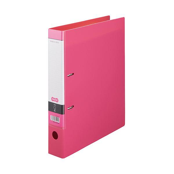 (まとめ) TANOSEE DリングファイルA4タテ 2穴 350枚収容 背幅53mm ピンク 1セット(10冊) 【×5セット】