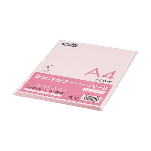 (まとめ) TANOSEE αエコカラーペーパーII A4 ピンク 少枚数パック 1冊(100枚) 【×30セット】