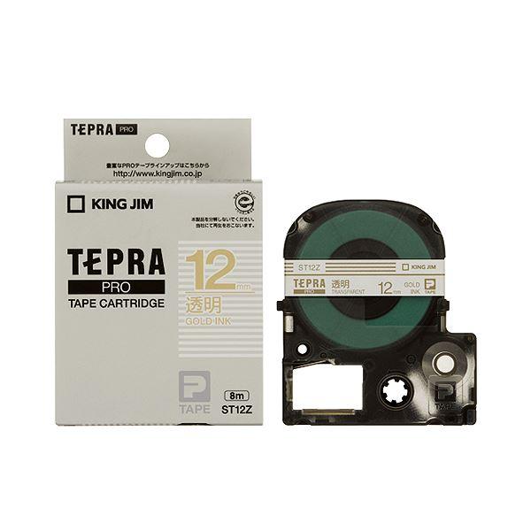 (まとめ) キングジム テプラ PRO テープカートリッジ 12mm 透明/金文字 ST12Z 1個 【×10セット】
