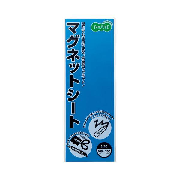 (まとめ) TANOSEE マグネットカラーシート レギュラー 300×100×0.8mm 青 1セット(10枚) 【×10セット】