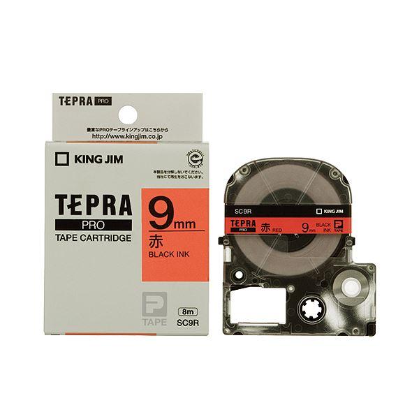 (まとめ) キングジム テプラ PRO テープカートリッジ パステル 9mm 赤/黒文字 SC9R 1個 【×10セット】
