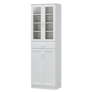 カップボード/食器棚 【ホワイト】 幅566mm 扉収納 移動棚付き 『セシルナ』 〔キッチン 台所 ダイニング〕 組立式【代引不可】