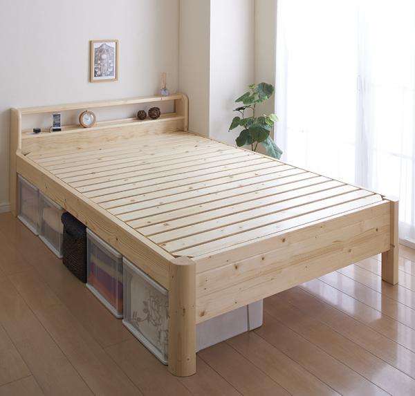 すのこベッド セミダブル【SFORZA】【フレームのみ】ナチュラル 耐荷重600kg!棚・コンセントつき頑丈すのこベッド【SFORZA】スフォルツァ【代引不可】