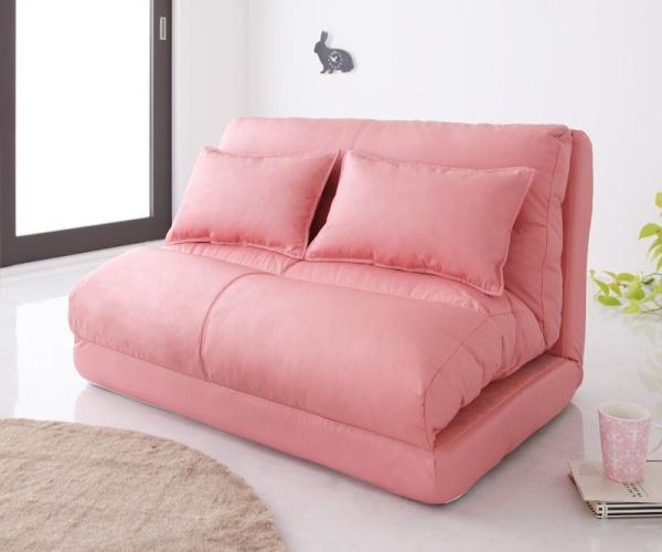 ソファーベッド 【ピンク】幅120cm【Luxer】 コンパクトフロアリクライニングソファベッド【Luxer】リュクサー【代引不可】