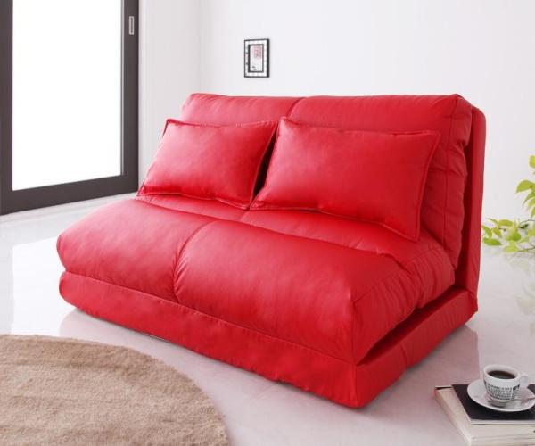 ソファーベッド【レッド】 幅120cm【Luxer】 コンパクトフロアリクライニングソファベッド【Luxer】リュクサー【代引不可】