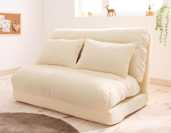 ソファーベッド 幅120cm【アイボリー】コンパクトフロアリクライニングソファベッド【Mou】ムウ【代引不可】