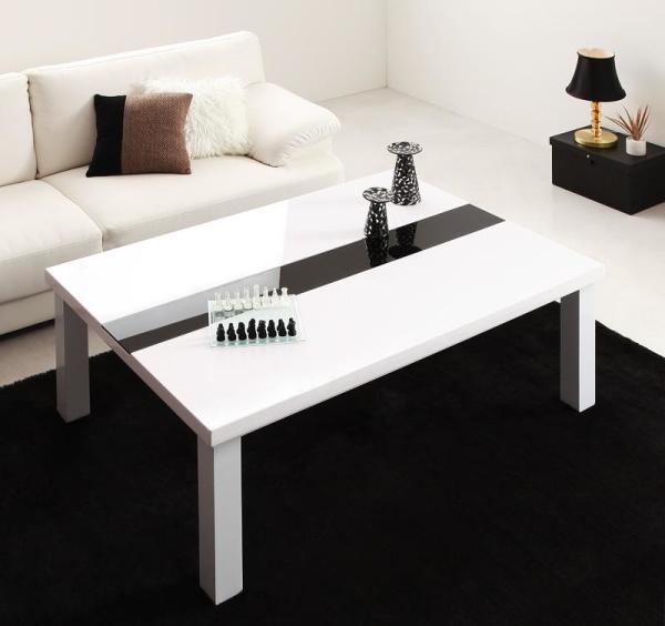 【単品】こたつテーブル 長方形(120×80cm)【ラスターホワイト】 鏡面仕上げ アーバンモダンデザインこたつテーブル【VADIT】バディット