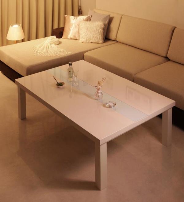 【単品】こたつテーブル 長方形(105×75cm)【ダブルホワイト】 鏡面仕上げ アーバンモダンデザインこたつテーブル【VADIT】バディット