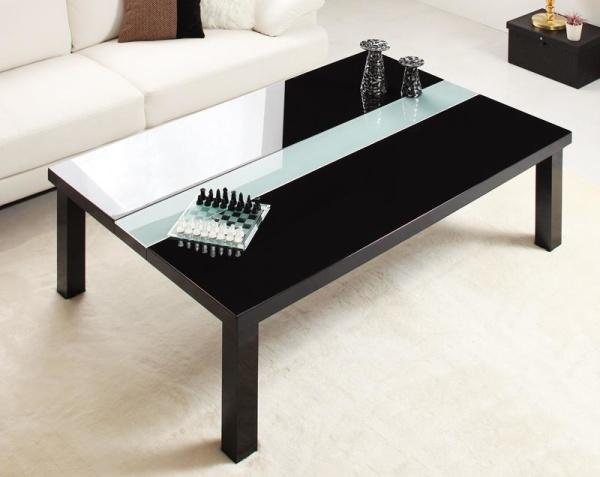 【単品】こたつテーブル 長方形(105×75cm)【グロスブラック】 鏡面仕上げ アーバンモダンデザインこたつテーブル【VADIT】バディット