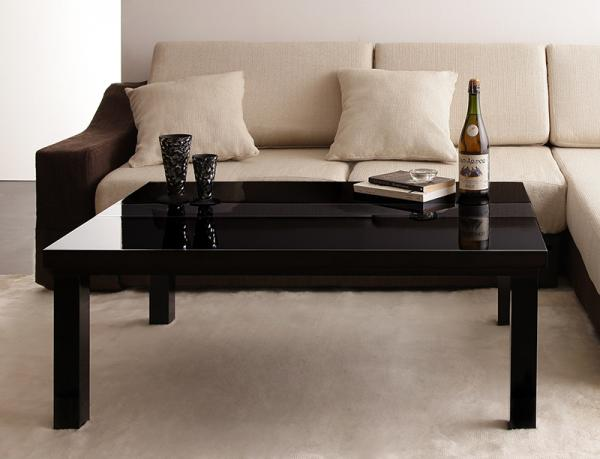 【単品】こたつテーブル 長方形(105×75cm)【ダブルブラック】 鏡面仕上げ アーバンモダンデザインこたつテーブル【VADIT】バディット