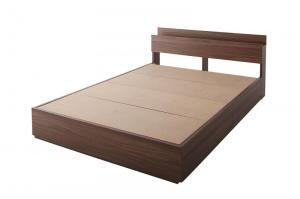 収納ベッド ダブル【フレームのみ】 ウォルナットブラウン 棚・コンセント付き収納ベッド【General】ジェネラル
