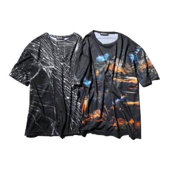 reversal リバーサル ドライ Tシャツ メンズ 半袖 いよいよ人気ブランド 格闘技 BIG SILHOUETTE キックボクシング TEE 武道 与え 総柄 DRY