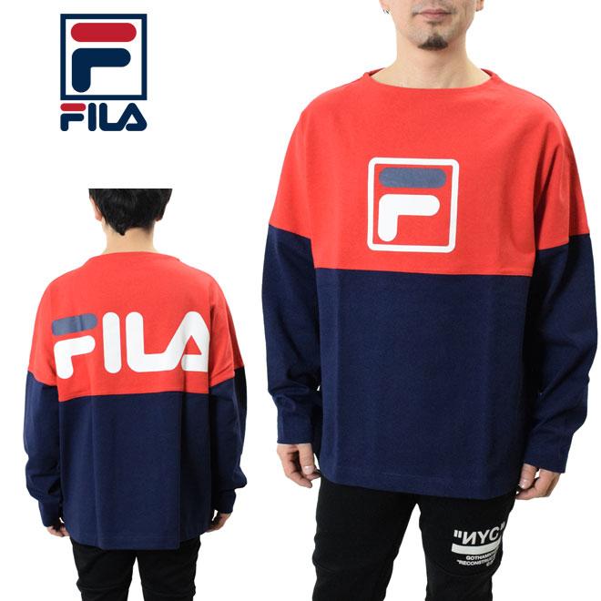FILA フィラ スクエアロゴ長袖Tシャツ (FM9551 Long sleeve Tee shirts ビッグシルエット メンズ レディース トレーナー スゥエット)
