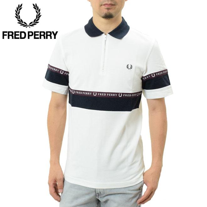 フレッドペリー ハーフジップライン ポロシャツ (M5567 FRED PERRY SHIRT HALF ZIP SPORTS TAPE PIQUE SHIRT メンズ 鹿の子 フレッドペリーポロ)